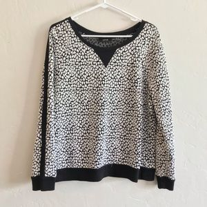 Apt. 9 Black & White Leopard Textured Sweatshirt L